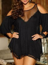 Black See Through Mesh Patchwork Sweetheart Pajamas