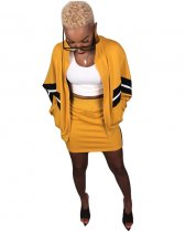 Patchwork Jackets And Mini Skirt Set SH-3436