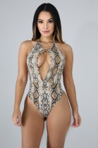 Snake Print Halter Backless Cut Out Bodysuit OSM-3265