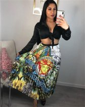 Retro Printed Pleated Long Skirts CY-1760