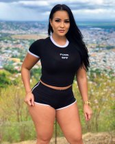 Black T Shirt Top And Shorts Sporting 2 Piece Sets MIL-009