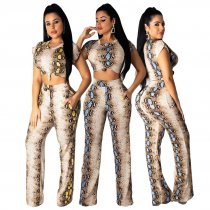 Snake Skin Print Short Sleeve Sexy Two Piece Sets ML-7192