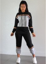 Black Patchwork Hooded Tracksuit 2 Piece Set  OY-5277