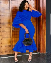 Blue Mesh Patchwork Ruffles Turtleneck Maxi Dress WY-6497