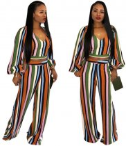 Multi Striped Full Sleeve Crop Top Pant Set HMS-5158