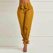 Solid High Waist Bow Knot Long Pencil Pants OD-8290
