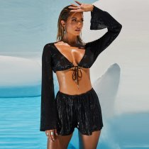 Sexy Sequined V Neck Tie Up Crop Top And Shorts Suit YF-9500