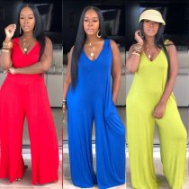 Solid V Neck Sleeveless Hooded Jumpsuits MOS-917