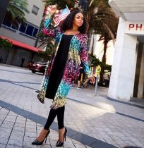 Colorful Sequined Long Coats Clubbing TR-681