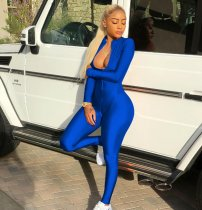 Blue Front Zipper Clubwear Jumpsuit TE-3384