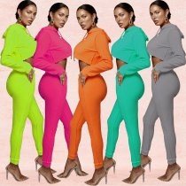 Solid Color Hooded Tracksuit Two Piece Suits BY-3276
