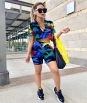 Camouglage Printed Short Sleeve Two Piece Outfits GS-2150