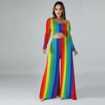 Colorful Striped Long Sleeve Wide Leg Pants 2 Piece Sets KSN-5059