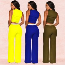 Sexy Sleeveless Tie Up V Neck Long Pants Sets  BY-3286