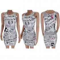 Letter Newspaper Print Sleeveless Mini Dresses CL-6019