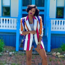 Colorful Stripes Open Stitch Notched V Neck Blazers PN-6235