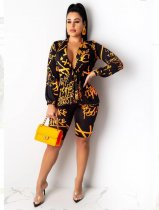 Trendy Printed Tie Up Long Sleeve Two Piece Shorts Set OMY-5169