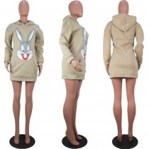 Rabbit Print Hooded Long Sleeve Hoodies Mini Dress OYF-8063