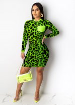 Leopard Print O Neck Long Sleeve Mini Dresses WSM-5099