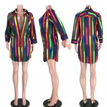 Rainbow Stripes Long Sleeve Blouse Shirt ASL-6195