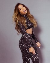 Sexy Dot Print Turtleneck Long Sleeve Two Piece Sets MAE-214