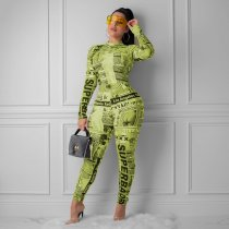 Letter Newspaper Print Long Sleeve Bodycon Jumpsuits MEI-9049