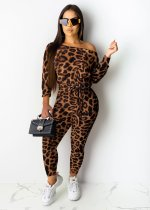 Sexy Leopard Print Slash Neck Long Sleeve Jumpsuits KD-6038