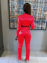 Red Casual Sports Long Seeve Two Pieces Suit LS-0284