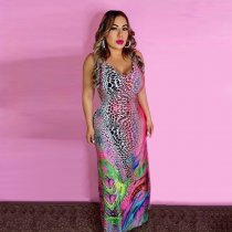 Colorful Printed V Neck Spaghetti Strap Long Maxi Dress CXM-8044