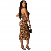 Leopard Print Sexy Cut Out Sleeveless Bodycon Midi Dress LUO-6231