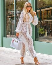 Sexy Tie Up Ruflles Long Sleeve Lace Jumpsuits ZS-0147