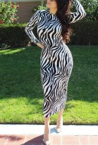 Zebra Stripes Long Sleeve O Neck Midi Dresses QZX-6087