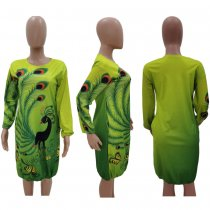 Trendy Long Sleeve Loose Peacock Print Dresses TK-6025