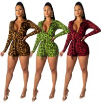 Leopard Print Deep V Neck Long Sleeve Rompers YM-9159