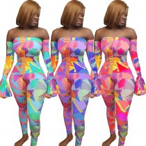 Plus Size Colored Geometric Print Off Shoulder Jumpsuits YH-5094-1