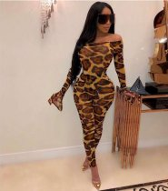 Sexy Slash Neck Leopard Printed Bodycon Jumpsuits HZM-9008