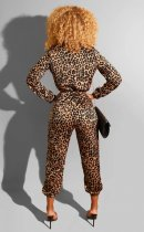 Leopard Print Long Sleeve Front Zipper Jumpsuits MA-251