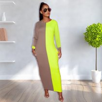 Contrast Color Long Sleeve O Neck Maxi Dresses TK-6029
