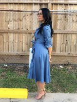 Fashion Long Sleeve Button Up Denim Midi Dresses OY-6055