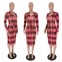 Plaid Print Long Sleeve Zipper Slim Midi Dresses MEI-9050