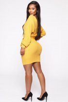Sexy Knitted V Neck Backless Long Sleeve Bodycon Dress BER-1863