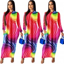 Rainbow Print Leopard Long Sleeve Maxi Dresses MOY-5112