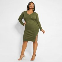 Plus Size 4XL Solid Knitted Split Long Sleeve Bodycon Dresses ME-5063