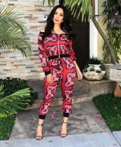 Fashion Printed  Long Sleeve Casual Two Piece Suits TR-972