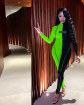 Contrast Color Long Sleeve Skinny One Piece Jumpsuits YD-8128