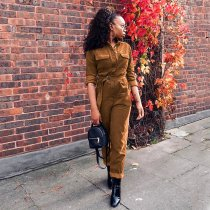 Solid Color Corduroy Long Sleeve Sashes Jumpsuits SH-3467