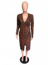 Leopard Print Deep V Neck Long Sleeve Split Midi Dress QZX-6091