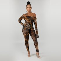 Sexy Mesh See Through Off Shoulder Print Jumpsuits YD-8124