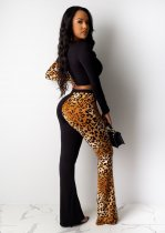 Leopard Print Patchwork Long Sleeve Two Piece Outfits PIN-8441