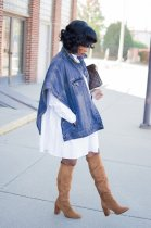 Plus Size Denim Batwing Short Sleeve Button Up Jacket Coat NY-001-1